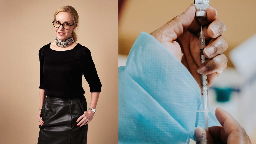 Charlotte Forssander och en bild på en hand som håller i en spruta