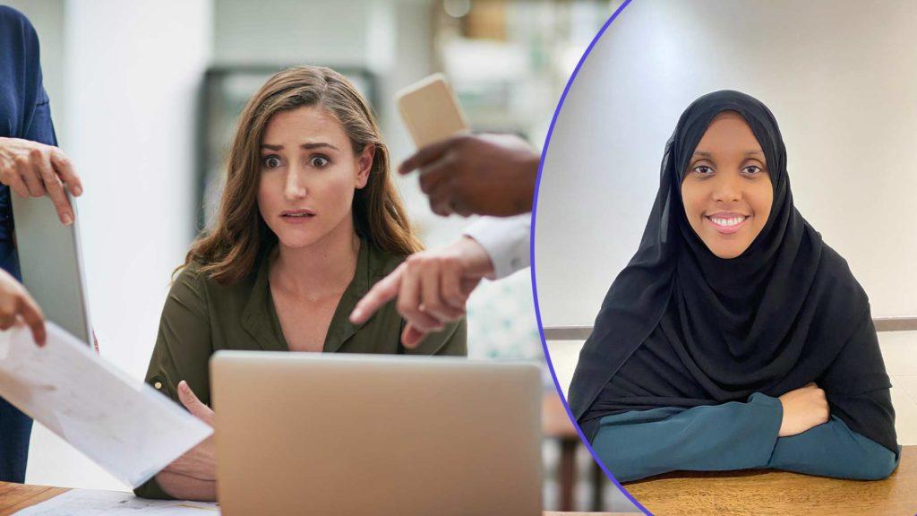 Till vänster en ung kvinna på ett kontor som ser stressad ut. Till höger Nema Abdihakim Ali.