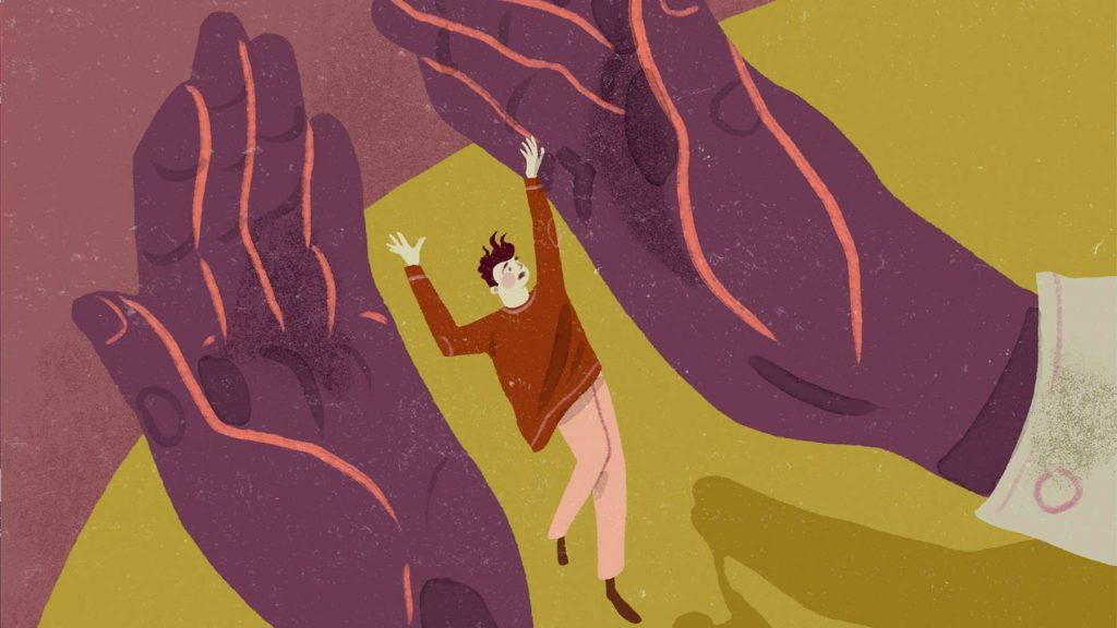 Illustration på en person och två stora händer som ser ut att fånga personen.