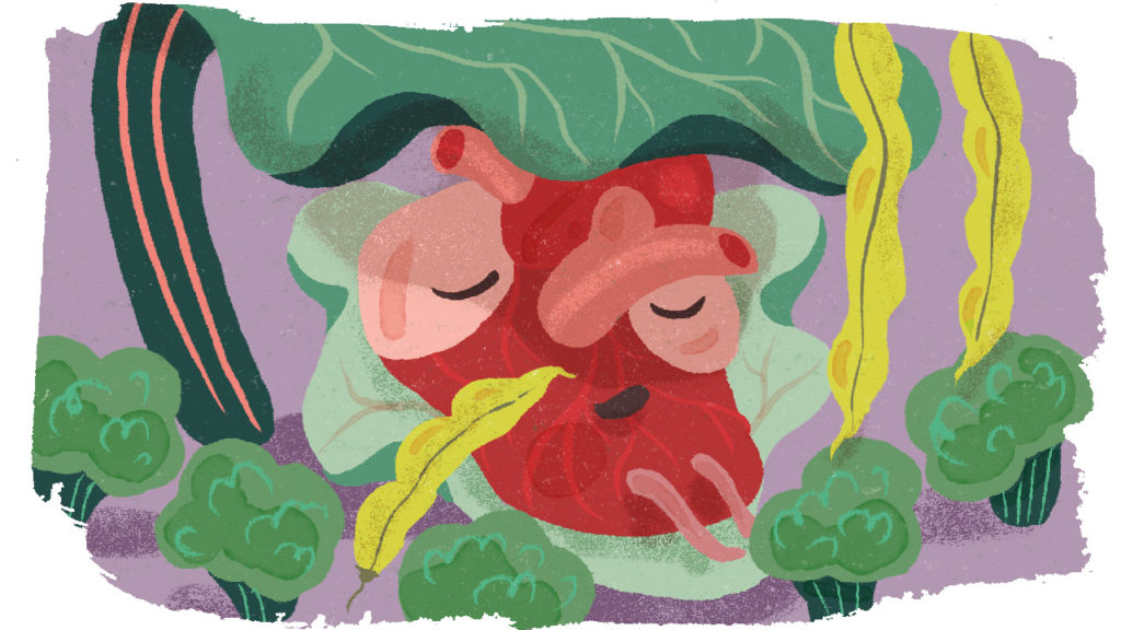 Illustration med ett hjärta uppbyggt av grönsaker.