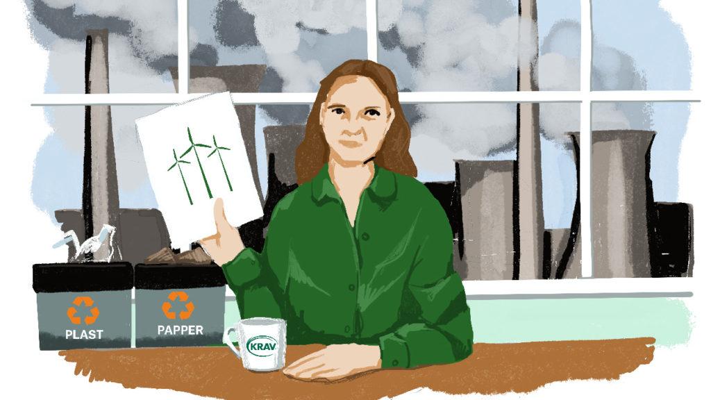Illustration med en chef framför en industri.