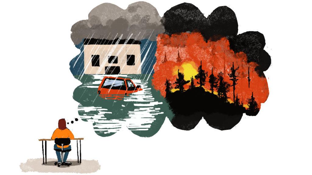 Illustrayion med en person som har en stor tankebubbla full med klimatkatastrofer.