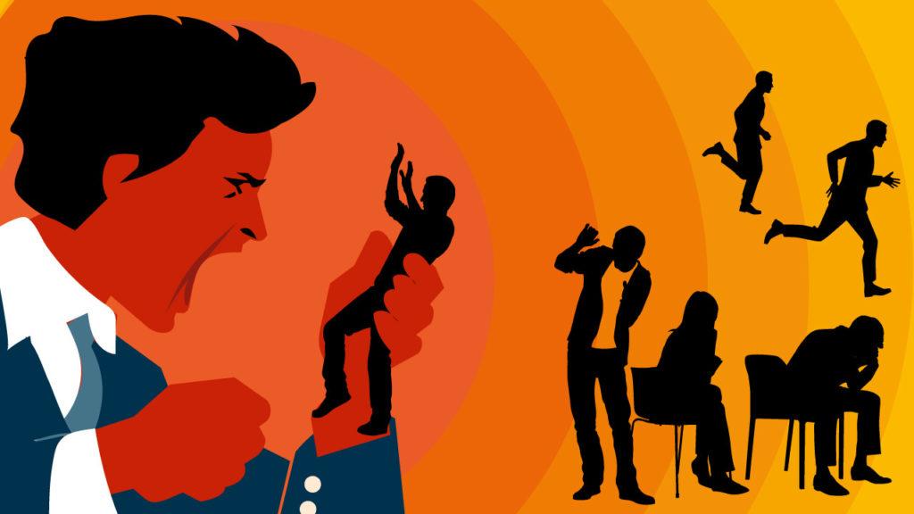 En illustration i olika toner av orange av en man som skriker åt en person han håller i sin hand.