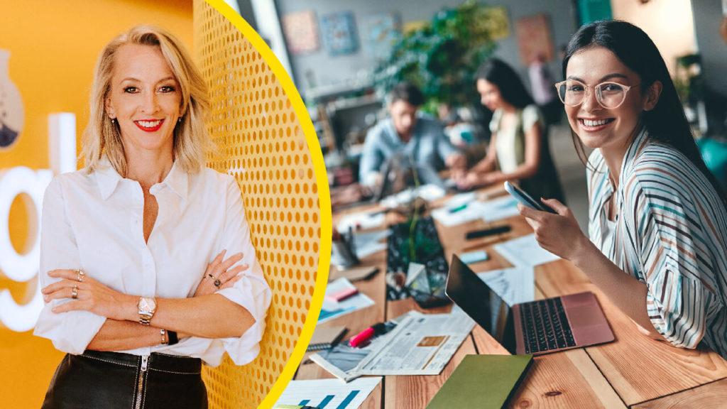 Anna Wikland till vänster. Bild på leende kvinna vid skrivbord till höger.