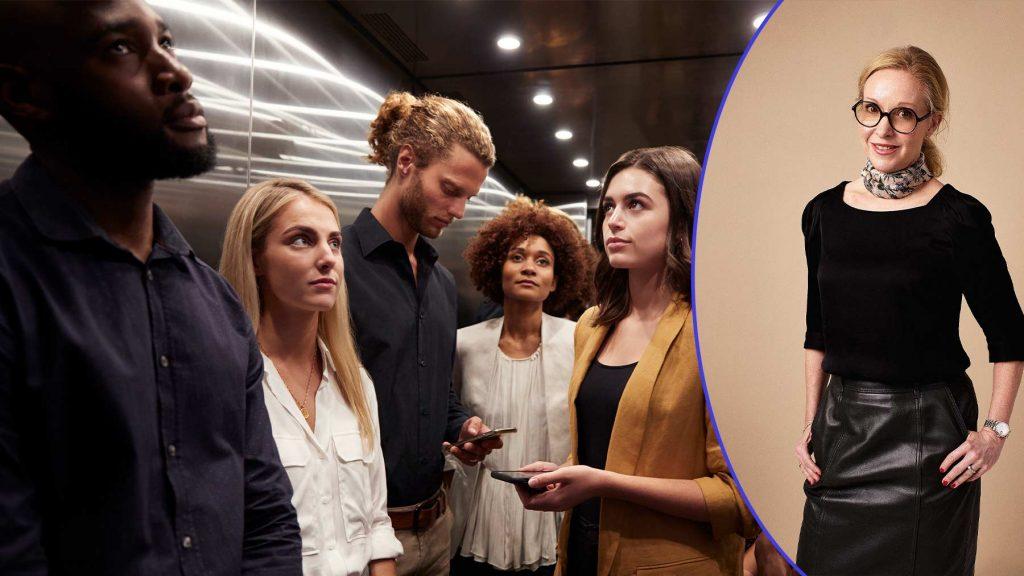 En grupp personer i en hiss och en bild på Charlotte Forssander.