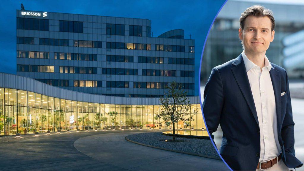 Till vänster en av Ericssons byggnader. Till höger Peter Laurin.