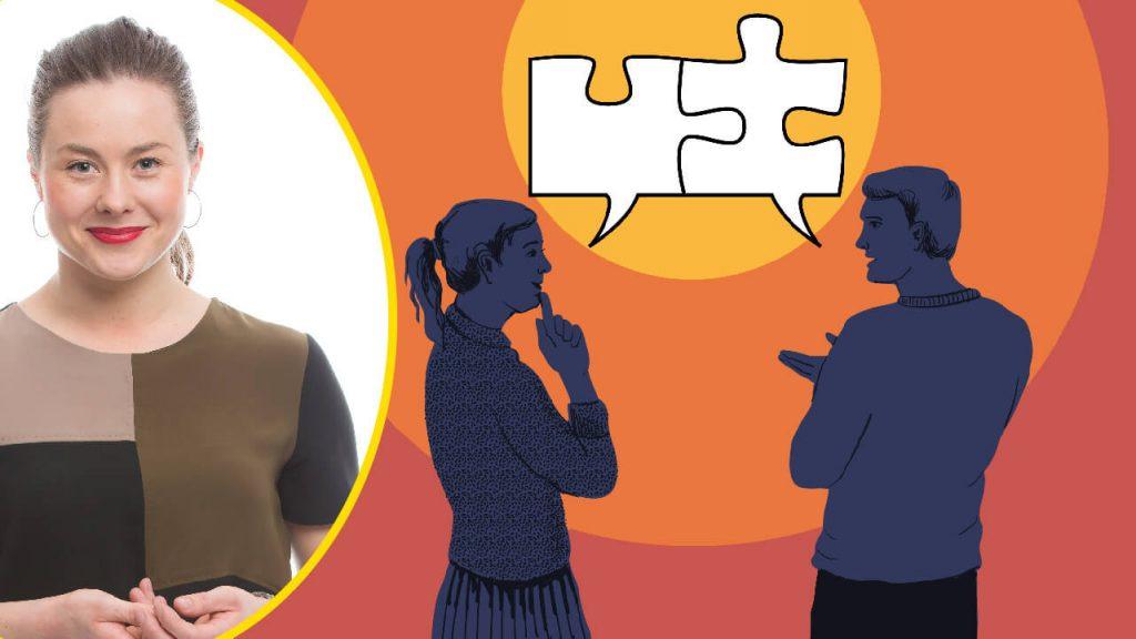 Ett foto på Serena till vänster. En illustration av en man och en kvinna som pratar. I pratbubblorna ovanför dem syns pusselbitar.