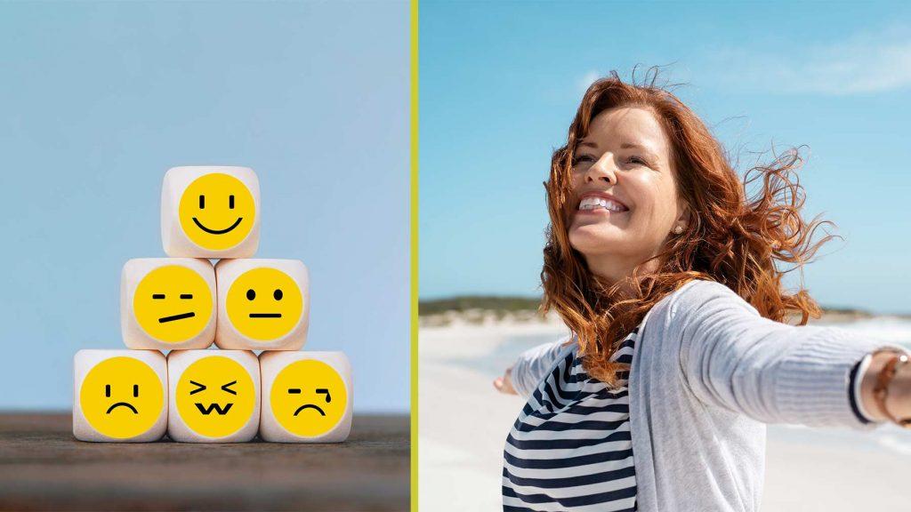 En bild på figurer som gör glada och ledsna miner. Och en bild på en leende kvinna på stranden.